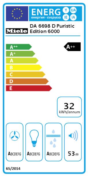 Energetska naljepnica Otočna napa DA 6698 D Puristic Edition 6000