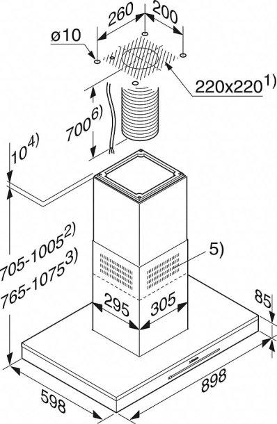 Miele otočna napa DA 6698 D Puristic Edition 6000 - dimenzije